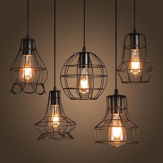 Nueva hierro desv n colgante de luz iluminaci n industrial de la vendimia bar cafeter a - Lamparas estilo rustico ...