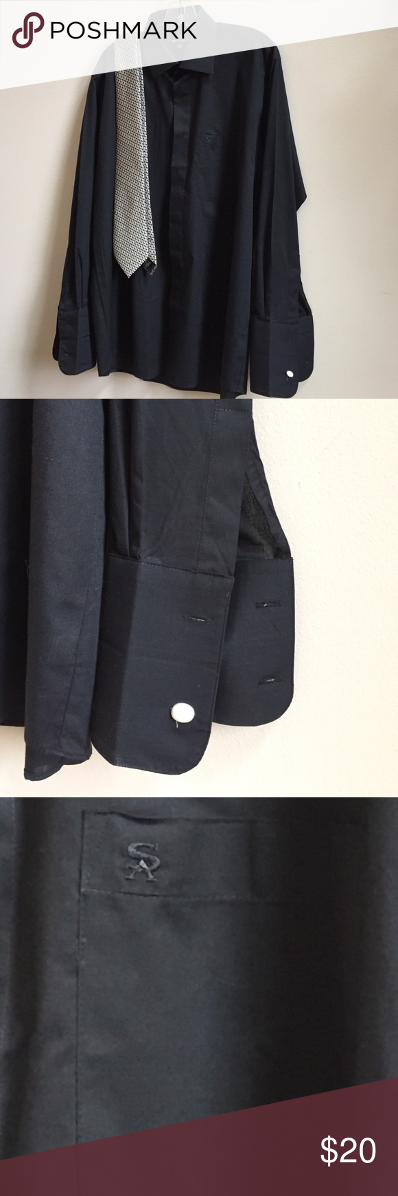 ❤️👔Stacy Adams Dress shirt with French cuffs. Black Stacy Adams dress shirt with French cuffs. Neck is 16 and sleaze are 32–33. Logo on pocket.  60% cotton 40% polyester. Never worn. Stacy Adams Shirts Dress Shirts