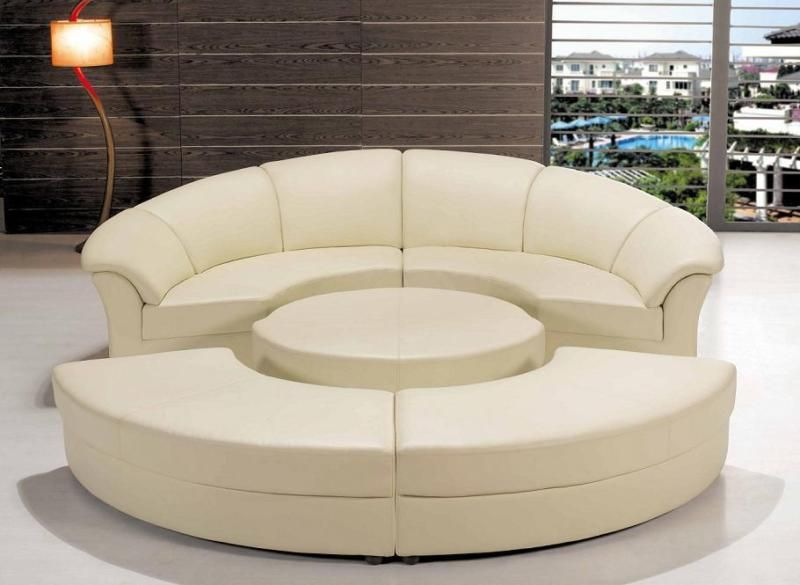 Off White Round Sofa Sectional 5 Pieces Curved Contemporary Modern Design