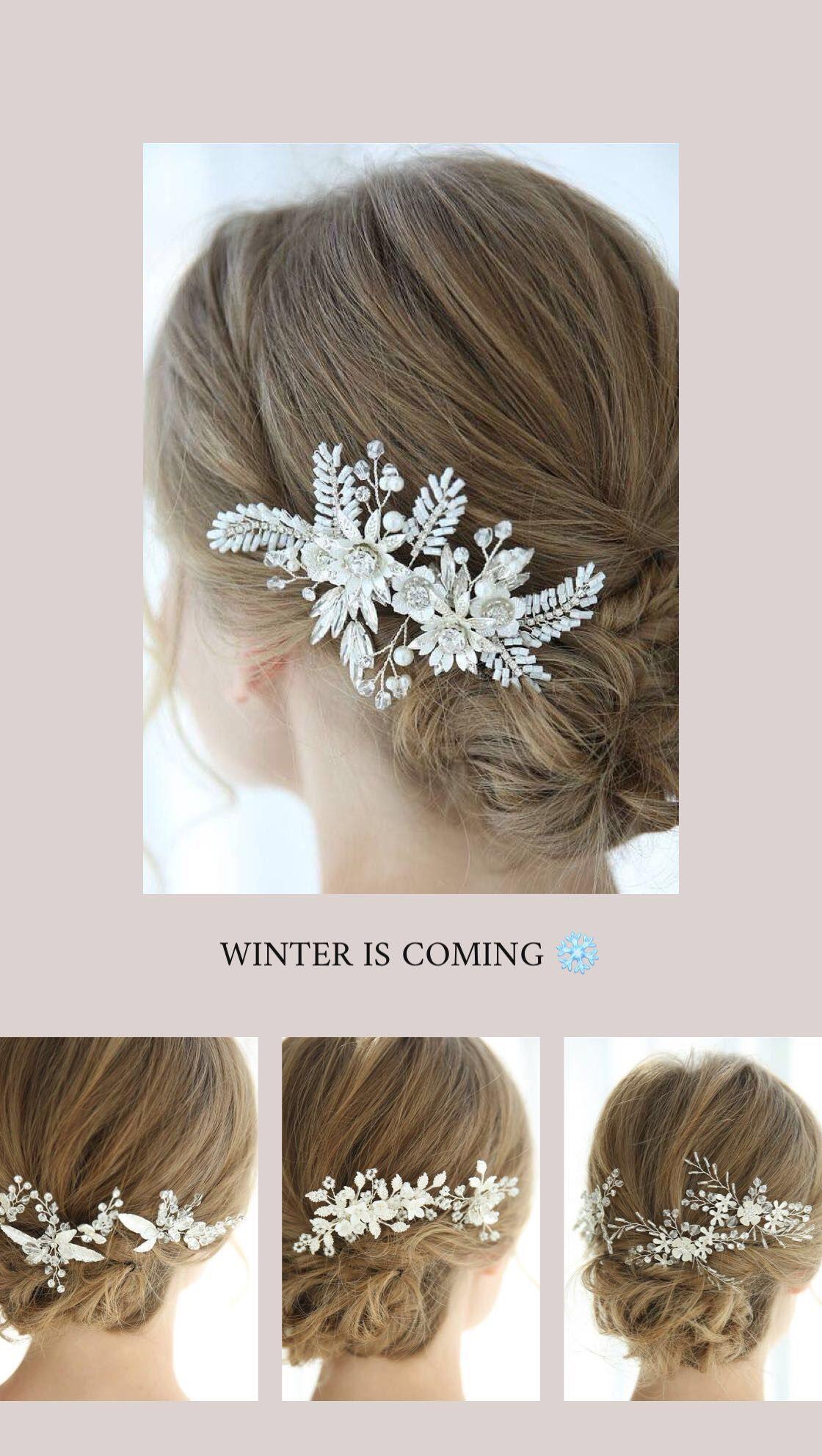 winter bride/winter wedding/icy white hair accessories