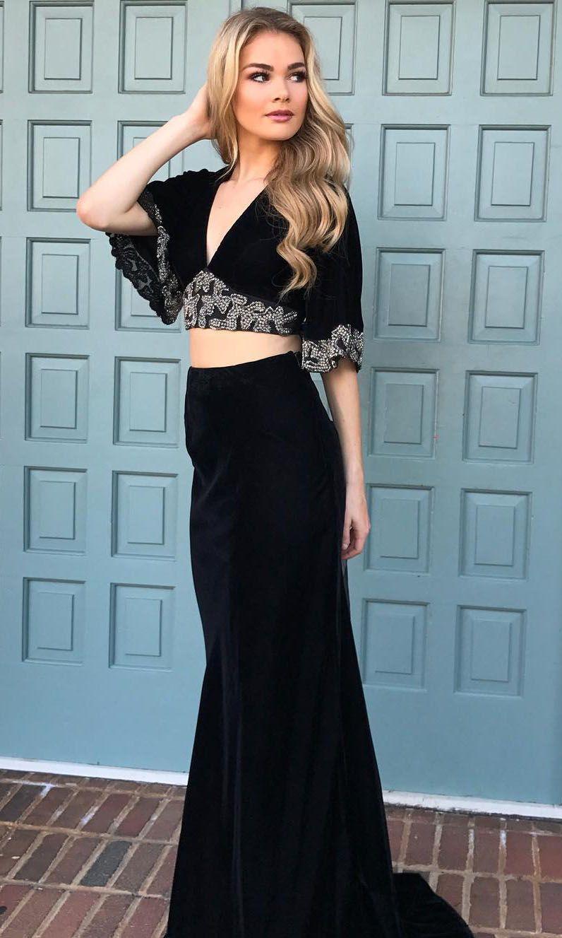 Bell Sleeves Black Two Piece Mermaid Prom Dress 8002049 Unique Prom Dresses Best Formal Dresses Flirty Short Dress [ 1327 x 796 Pixel ]