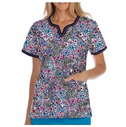 {MED} Women's Med Couture Paisley Delight Ella Scrub Top (4436PYDT) #Peaches