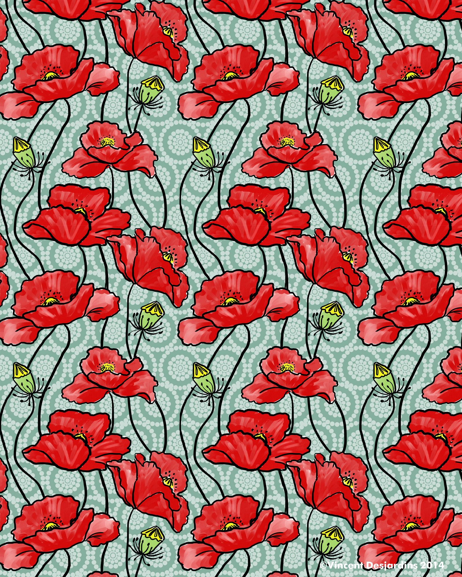 My red poppies and circles pattern the circular pattern in the
