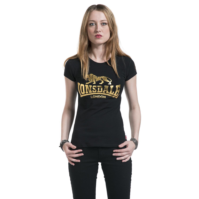 """50 anni di Lonsdale London. Classica #TShirt nera donna """"Linda"""" di #LonsdaleLondon celebrativa dei 50 anni del brand con scritta e leone color oro stampati sul davanti e logo del 50° anniversario stampato sulla manica."""