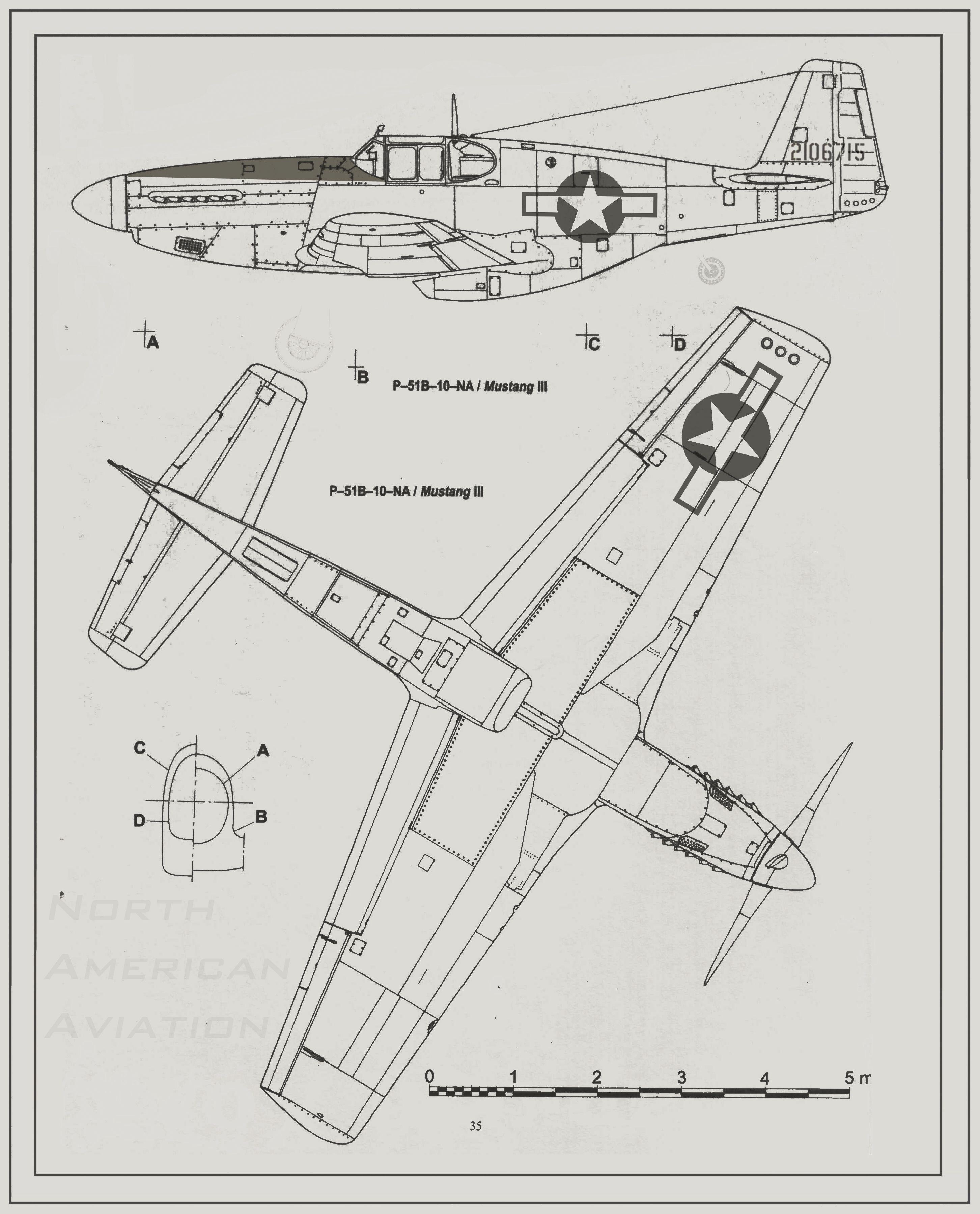 176 WW II P-51 Mustang Airplane Blueprint Plan