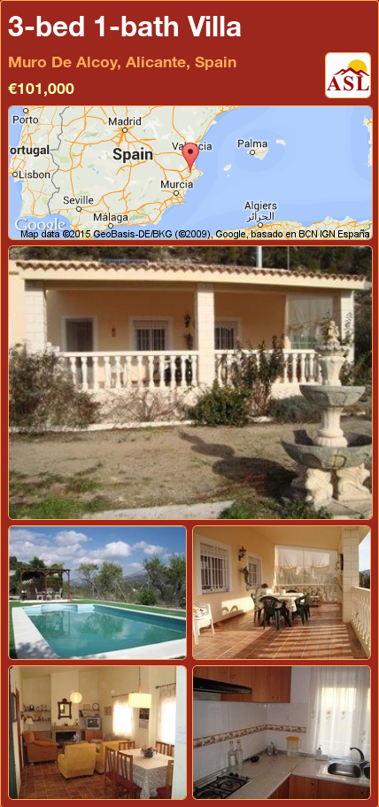 3-bed 1-bath Villa in Muro De Alcoy, Alicante, Spain ►€101,000 #PropertyForSaleInSpain