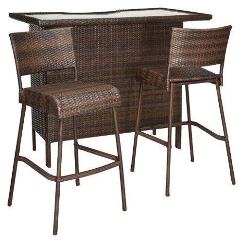Outdoor Patio Bar Set 3 Piece Furniture Wicker Stools Pool Deck Yard Shelves  NEW #RolstonThreshold
