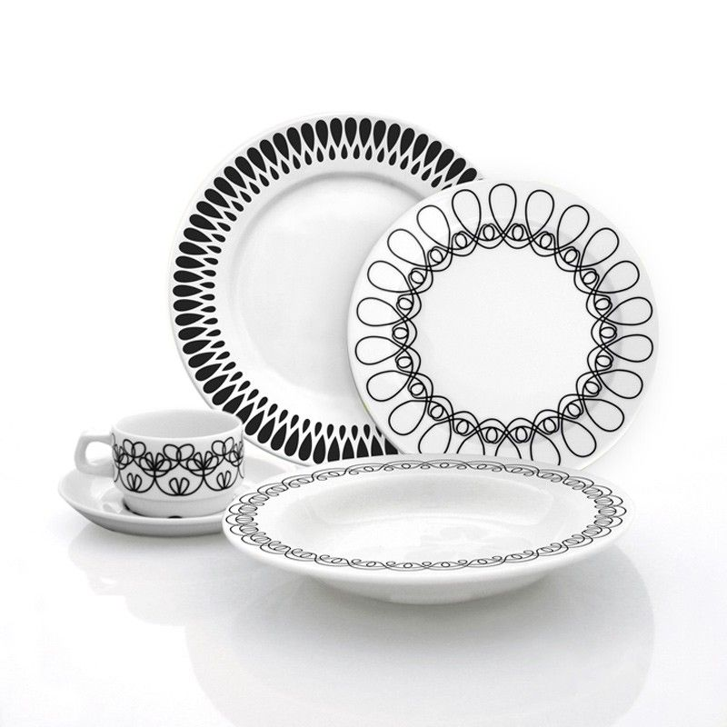Each+set+includes+four+place+settings++with+Black  sc 1 st  Pinterest & Each+set+includes+four+place+settings++with+Black+and+White+dinner+ ...