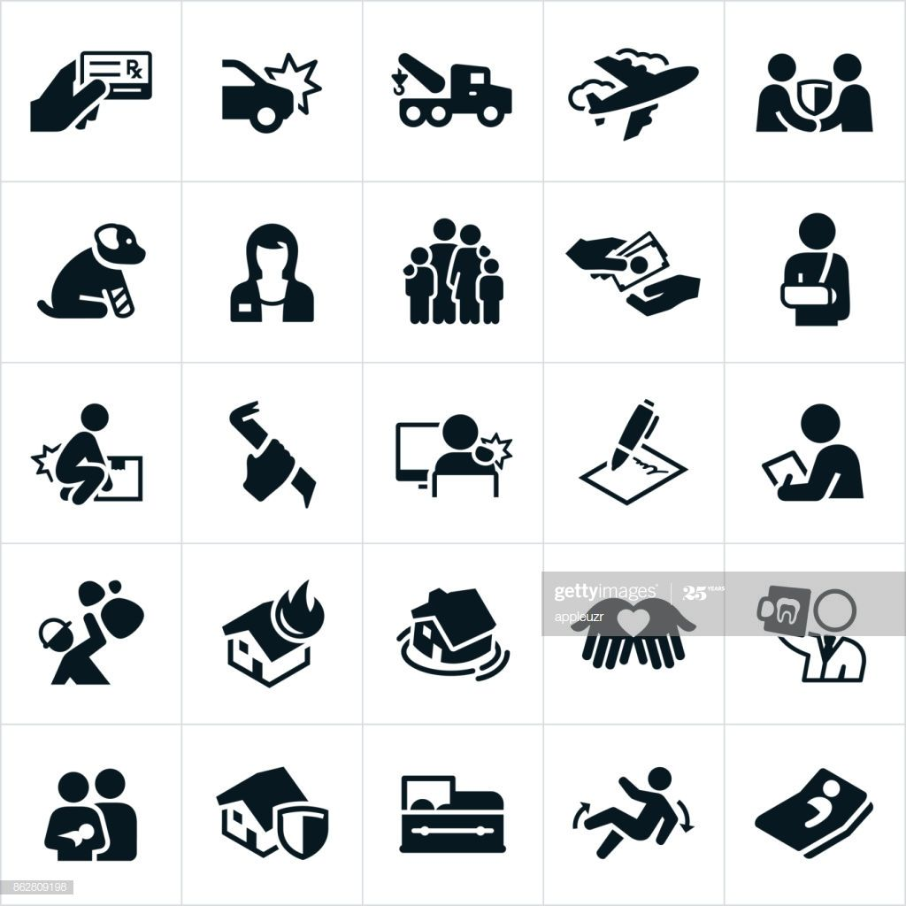 An icon set of different types of common insurances the
