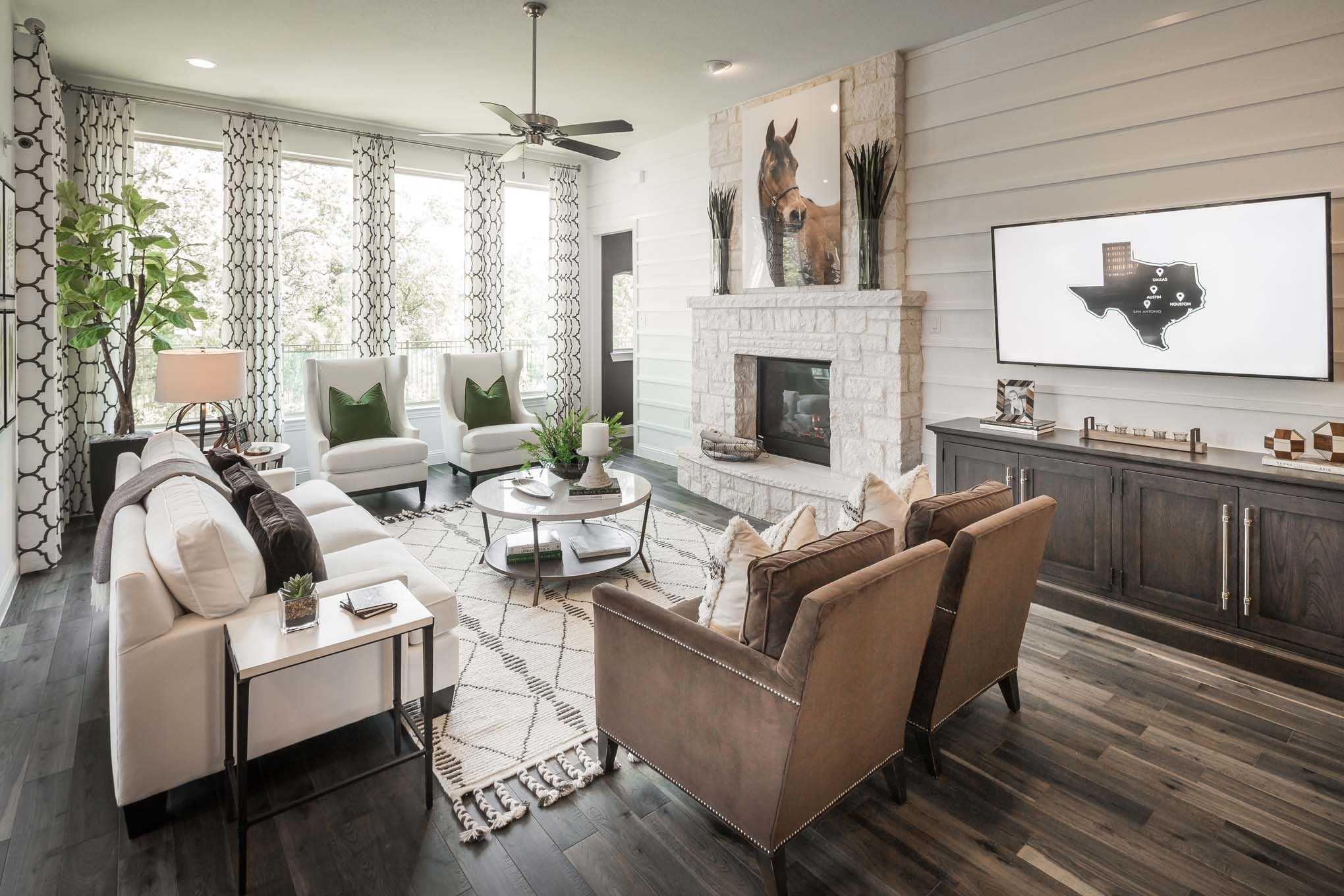 Highland Homes Plan 242 In Lantana Texas At Lantana Barrington 60s Community Familyroom Livingroom Home Color Palette Living Room New Home Builders