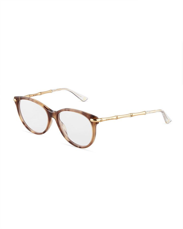 e232bdbd37 Gucci Round Acetate Bamboo-Style Optical Glasses