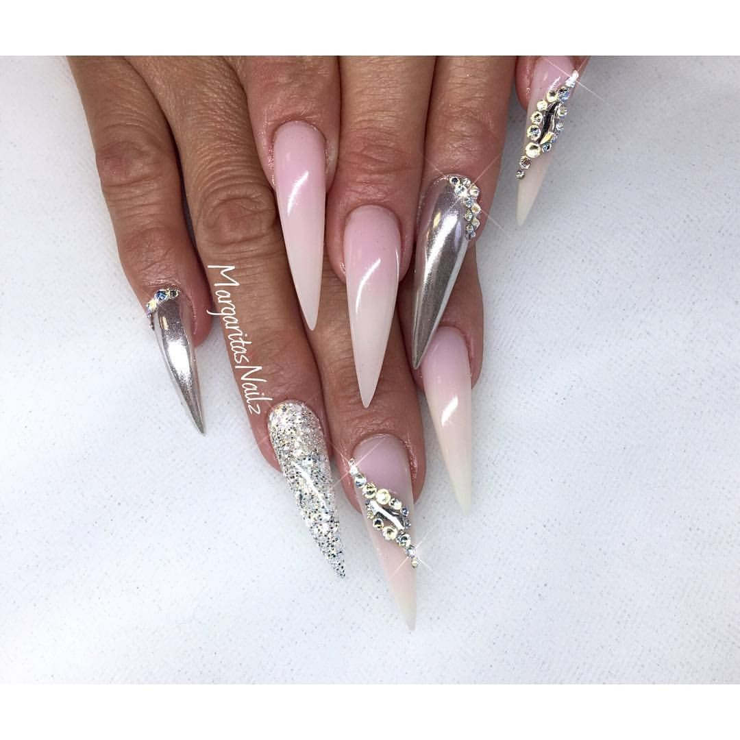 Stiletto Nails Chrome And Ombr Nail Design Summer Nail