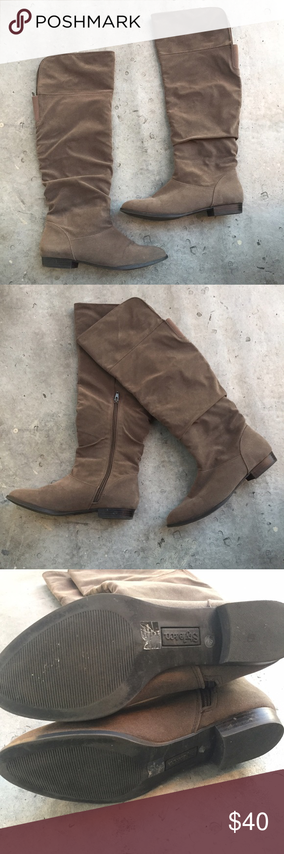 Style & Co Taupe Knee High Boots Gently used Style & Co taupe boots. Perfect for Fall. NO PAYPAL OR TRADES.                                                               👠Blog: willbakeforshoes.com 🐥Twitter: @willbakeforshoe 📷Instagram: @willbakeforshoes Style & Co Shoes Over the Knee Boots