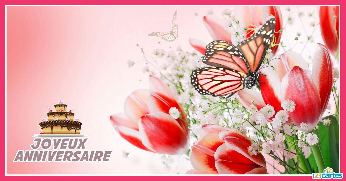 Carte Joyeux Anniversaire Avec Un Joli Dessin De Tulipes Et D Un