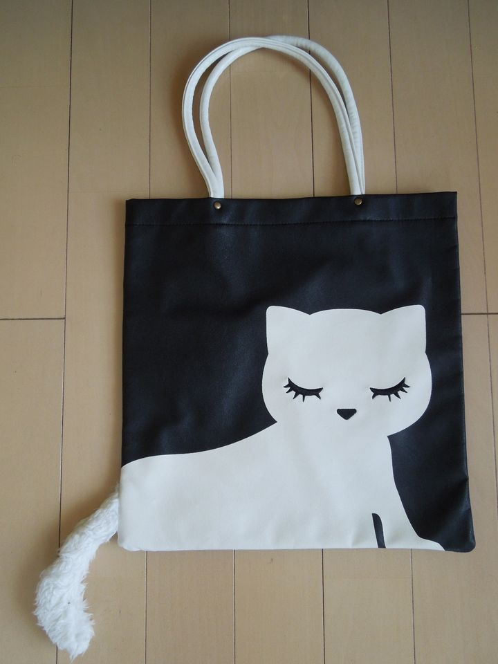Pooh-chan Cat Tote Bag with Tail – Black & White – Kawaii Harajuku Fashion Item