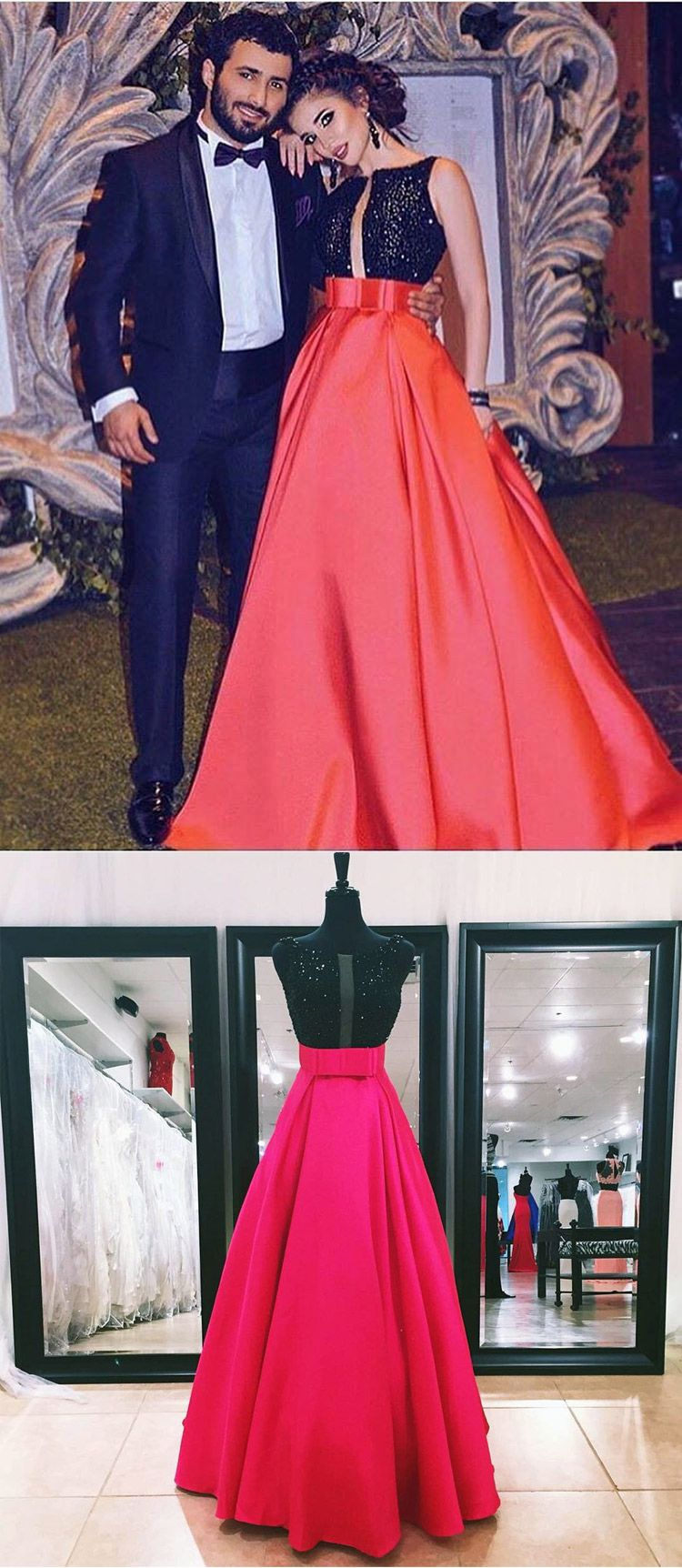 Aline long black top and red skirt prom dress evening gown