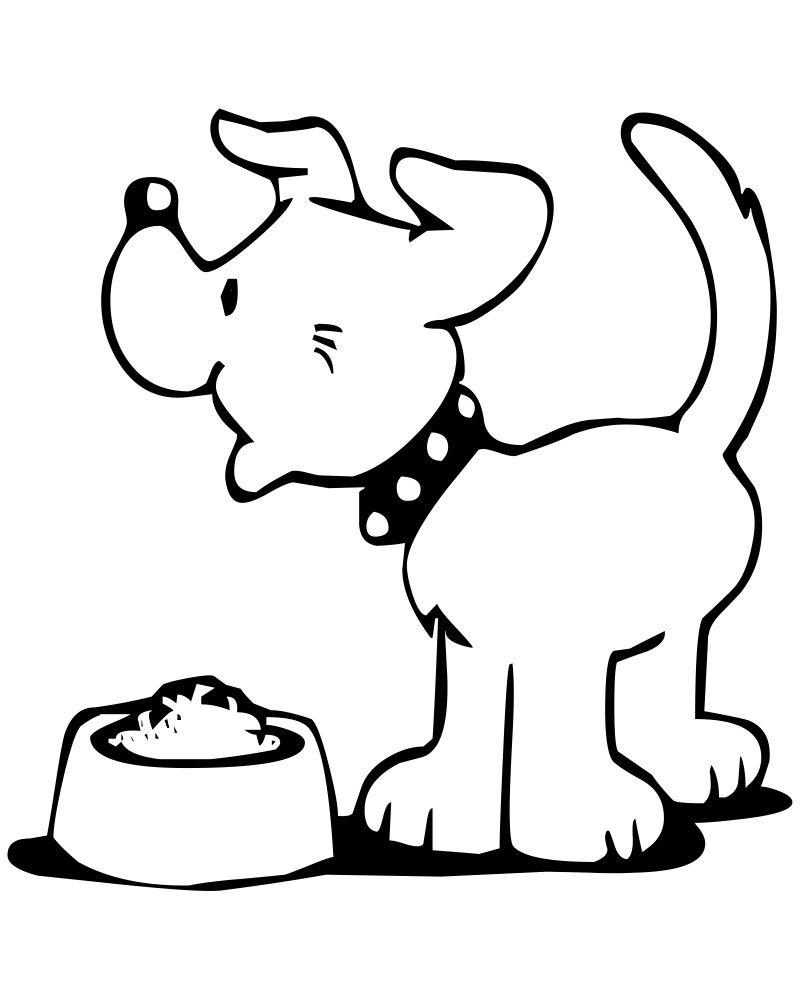 Dog Bone Vector Outlined Dog Bowl With Big Bone Stock