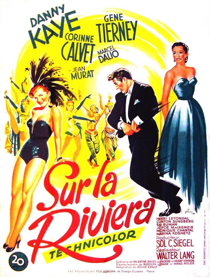 On the Riviera Gene Tierney Danny Kaye movie poster print