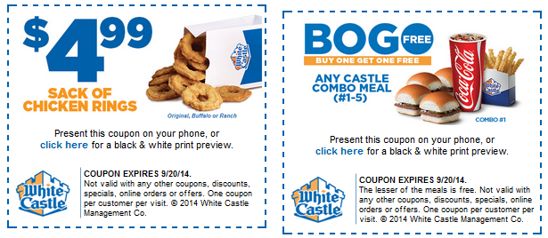 image regarding White Castle Printable Coupons identify White castle coupon codes