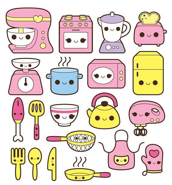 Kawaii Küche Clipart, Kawaii Kochen ClipArt, süße Küche Clipart