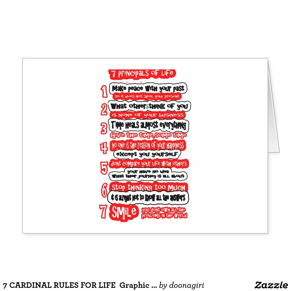 7 Cardinal Rules For Life Graphic Art Wisdom Text Card Greeting