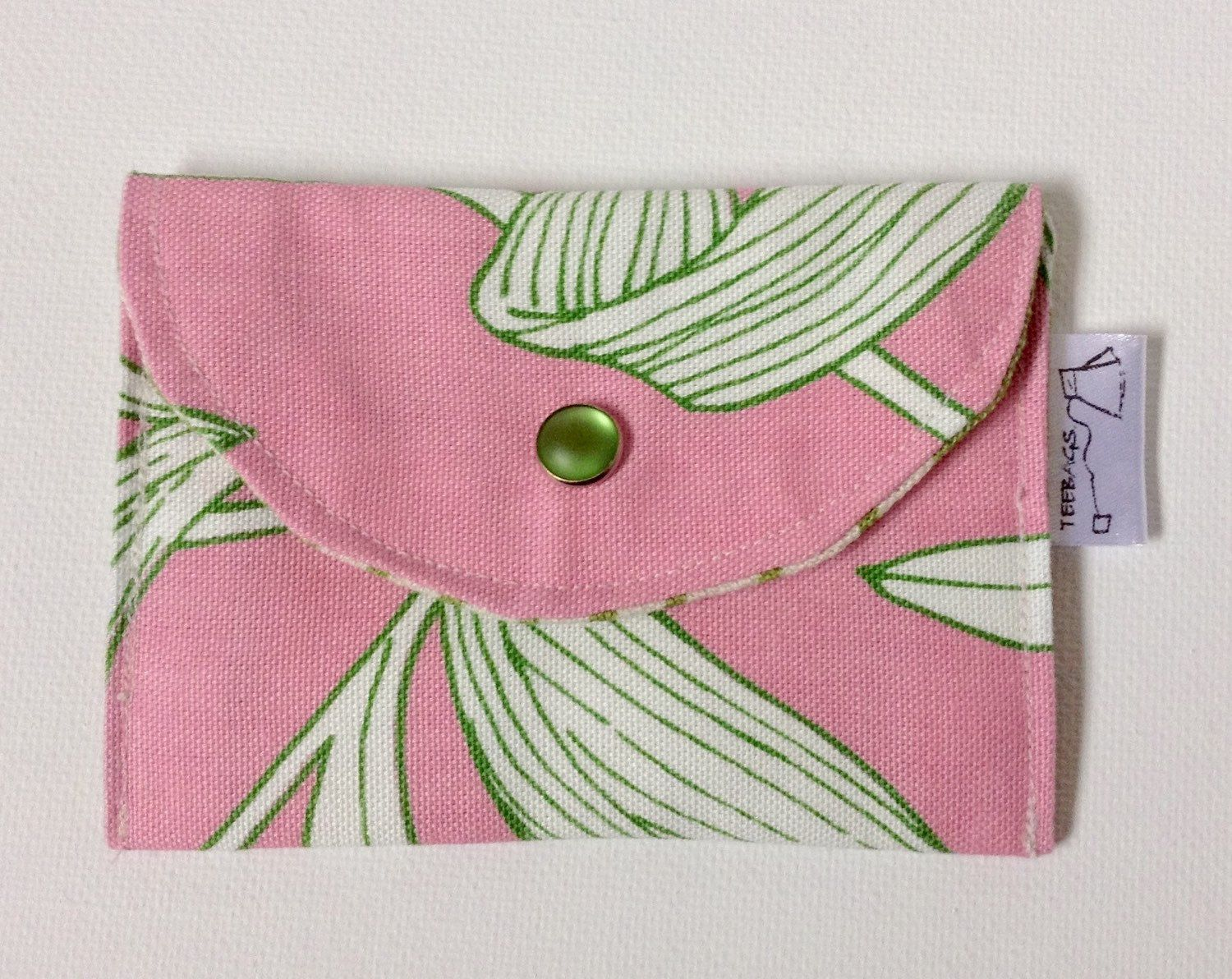 Debit/credit/business card wallet in pink with white and lime green leaves by steepedtee on Etsy https://www.etsy.com/listing/228197603/debitcreditbusiness-card-wallet-in-pink