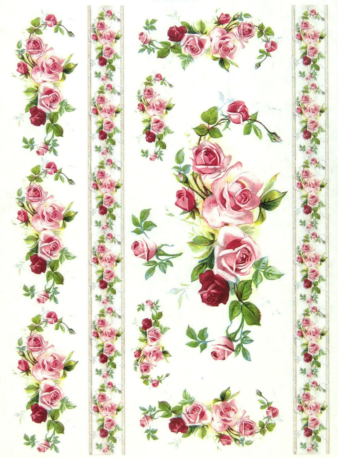 A 4 Soft Decoupage Paper Scrapbook Sheet Vintage Roses And