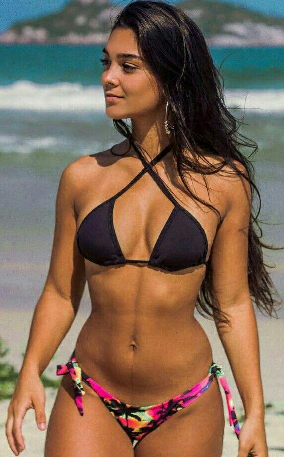 Model babes brunette bikini beach palms wallpaper