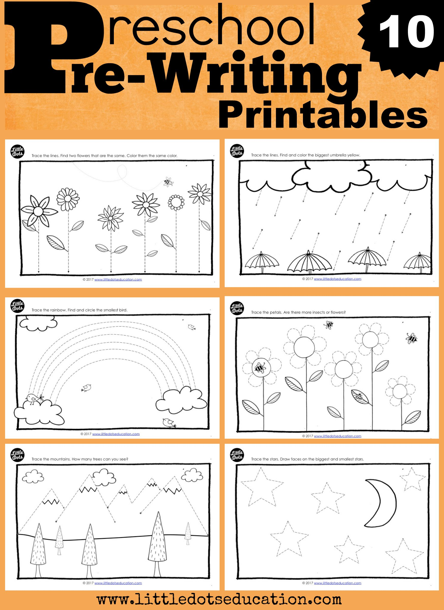Download ten adorable pre-writing and tracing printables for preschool, pre- k or