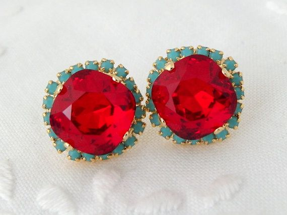 Red and turquoise Swarovski crystal stud by EldorTinaJewelry, $44.00