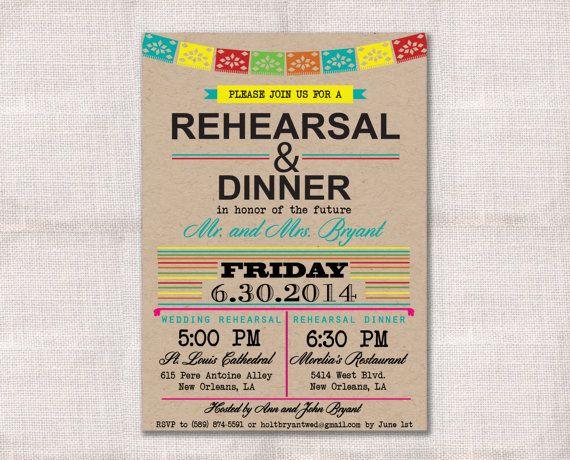 Fiesta Wedding Rehearsal Dinner invitation custom printable 5x7 - printable dinner invitations