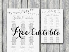 Free Printable Seating Chart Free Night Light Wedding Chart Printable  Free Wedding Invitations .