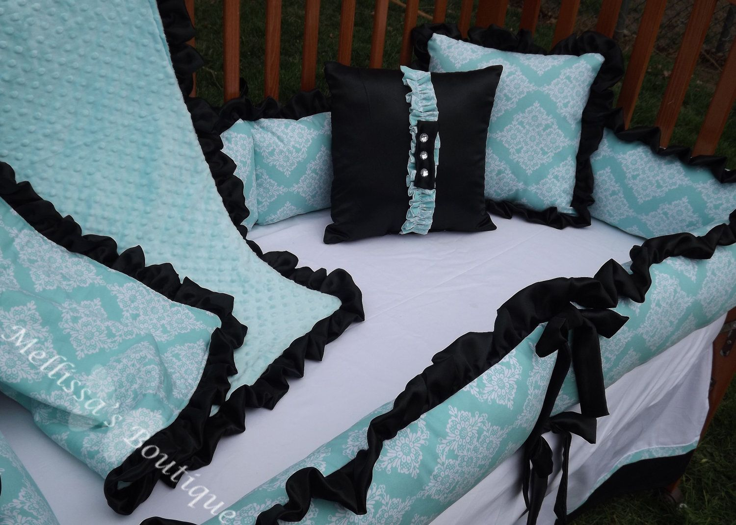 Custom Tiffany Blue With Black And White Boutique Crib