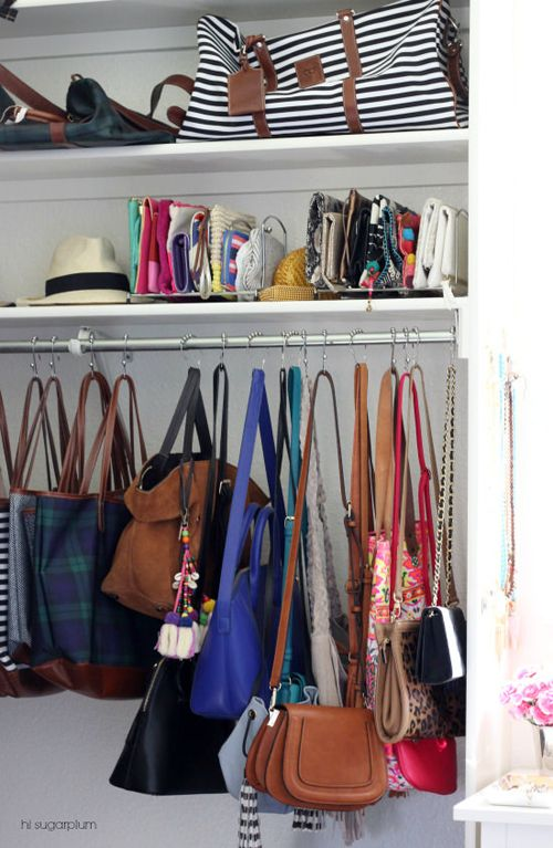 Uheart Organizing An Eclectic Jewelry Display Organizing Purses In Closet Purse Storage Closet Organization Diy