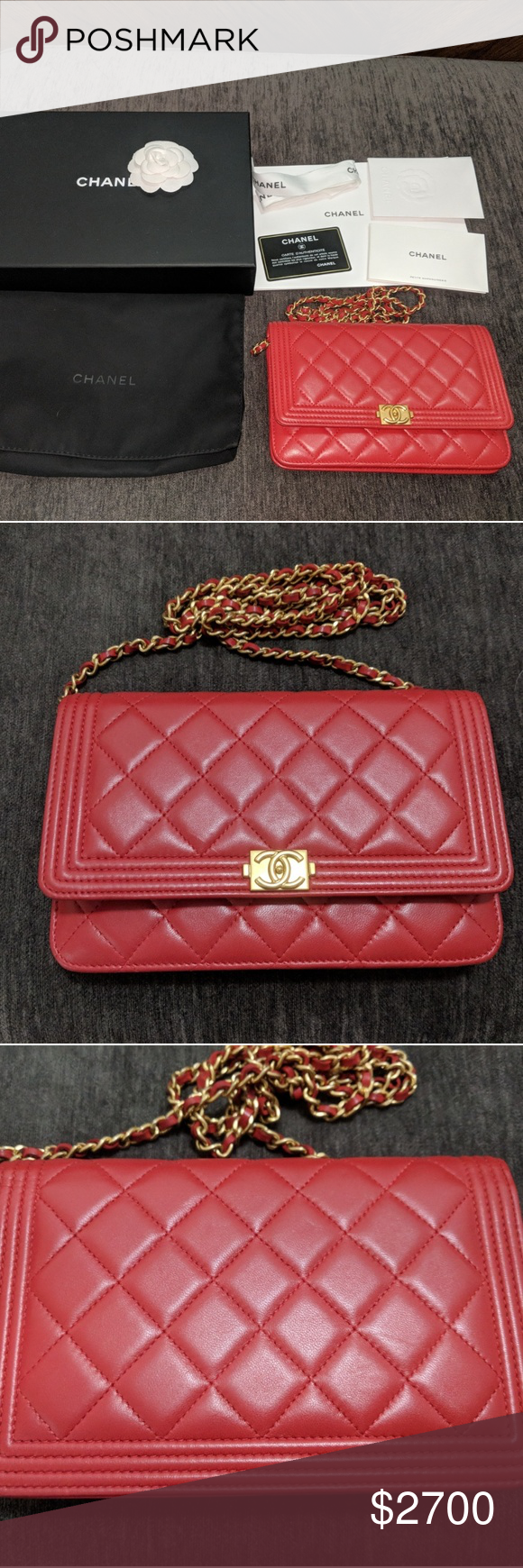 c7388f2d1eb40e NO P. Authentic Chanel Le Boy Wallet on Chain (WOC) in red quilted lambskin.  In fantastic, like new condition. Has minimal storage indentations on  leather.