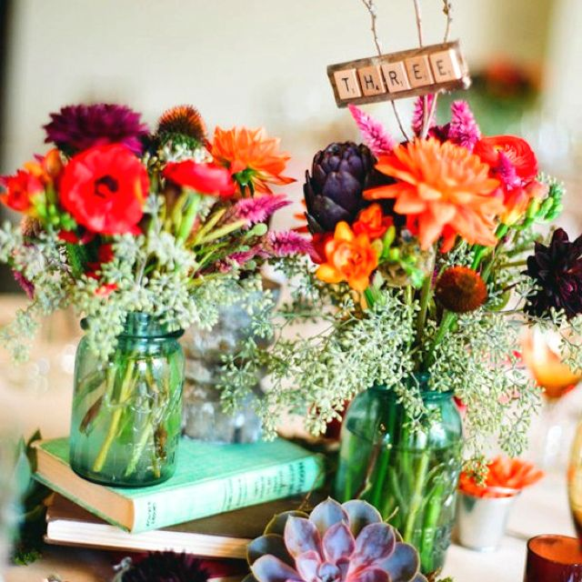 Doing Your Own Flowers For A Wedding: Blue Mason Jars Wedding Centerpiece Decoration Reception