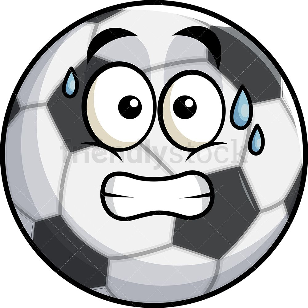 Sweating Soccer Ball Emoji Cartoon Clipart Vector Friendlystock Soccer Ball Cartoon Clip Art Emoji