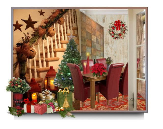 """""""Christmas decorations"""" by barbara-gennari ❤ liked on Polyvore featuring interior, interiors, interior design, home, home decor, interior decorating, York Wallcoverings, Improvements and Merske"""