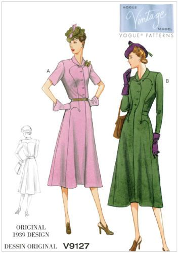 VIntage Vogue 9127 1930s 1939 Dress Retro Vintage Style Pattern ...