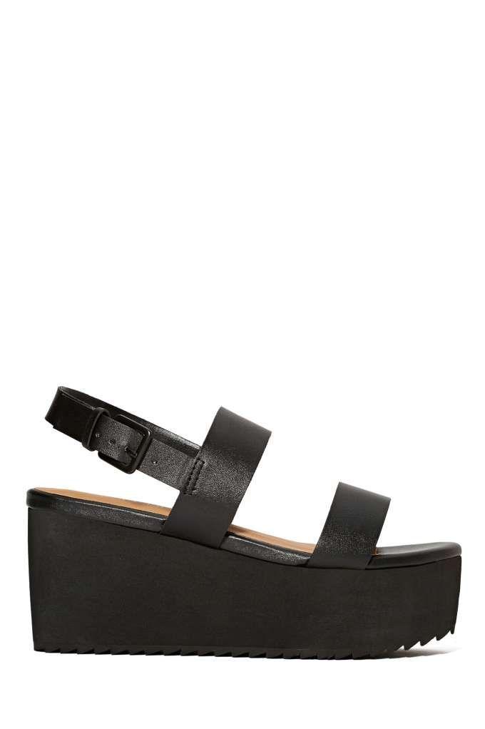 Shoe Cult Bianca Flatform - Black Look comfy cozy