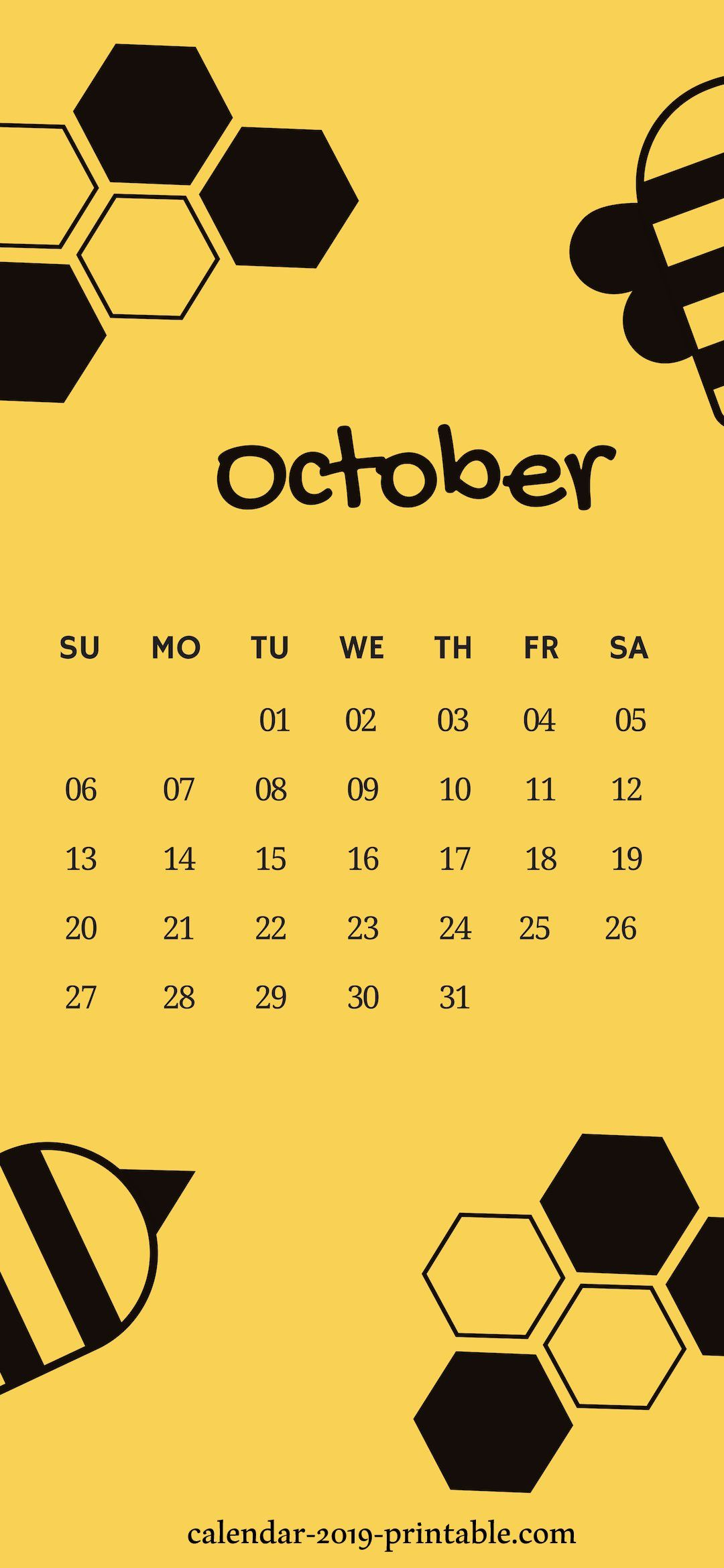 October 2019 iPhone Calendar Wallpapers (With images
