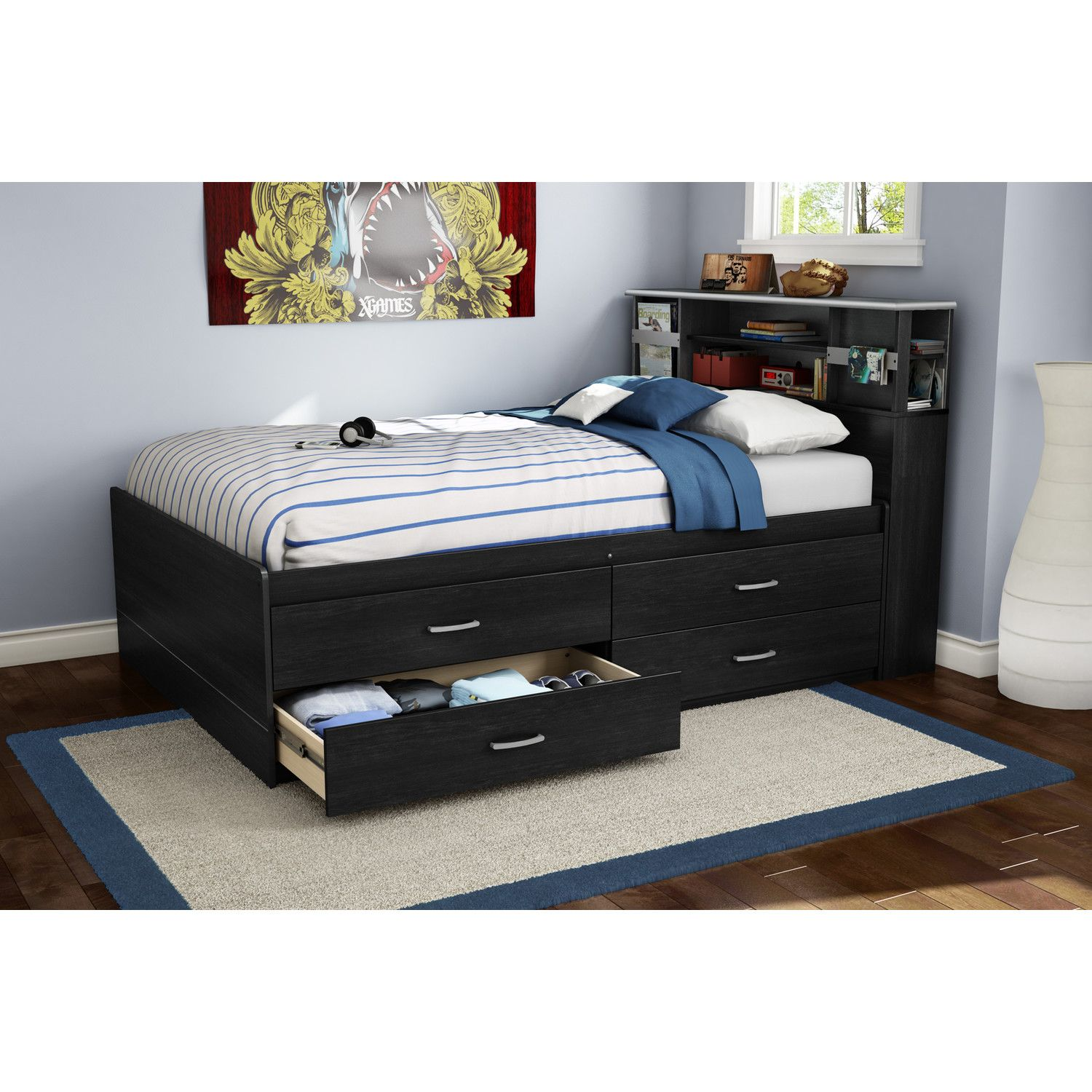 Step One Full Platform Bed with Drawers Bed with drawers