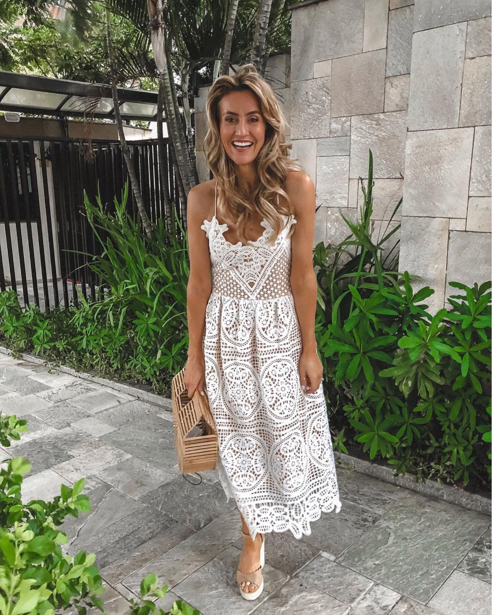 Fashion Blogger Karina Reske White Lace Dress Midi Lace Dress Bamboo Bag Wedding Season Dress Rehe White Lace Midi Dress Lace White Dress White Dress [ 2048 x 1639 Pixel ]
