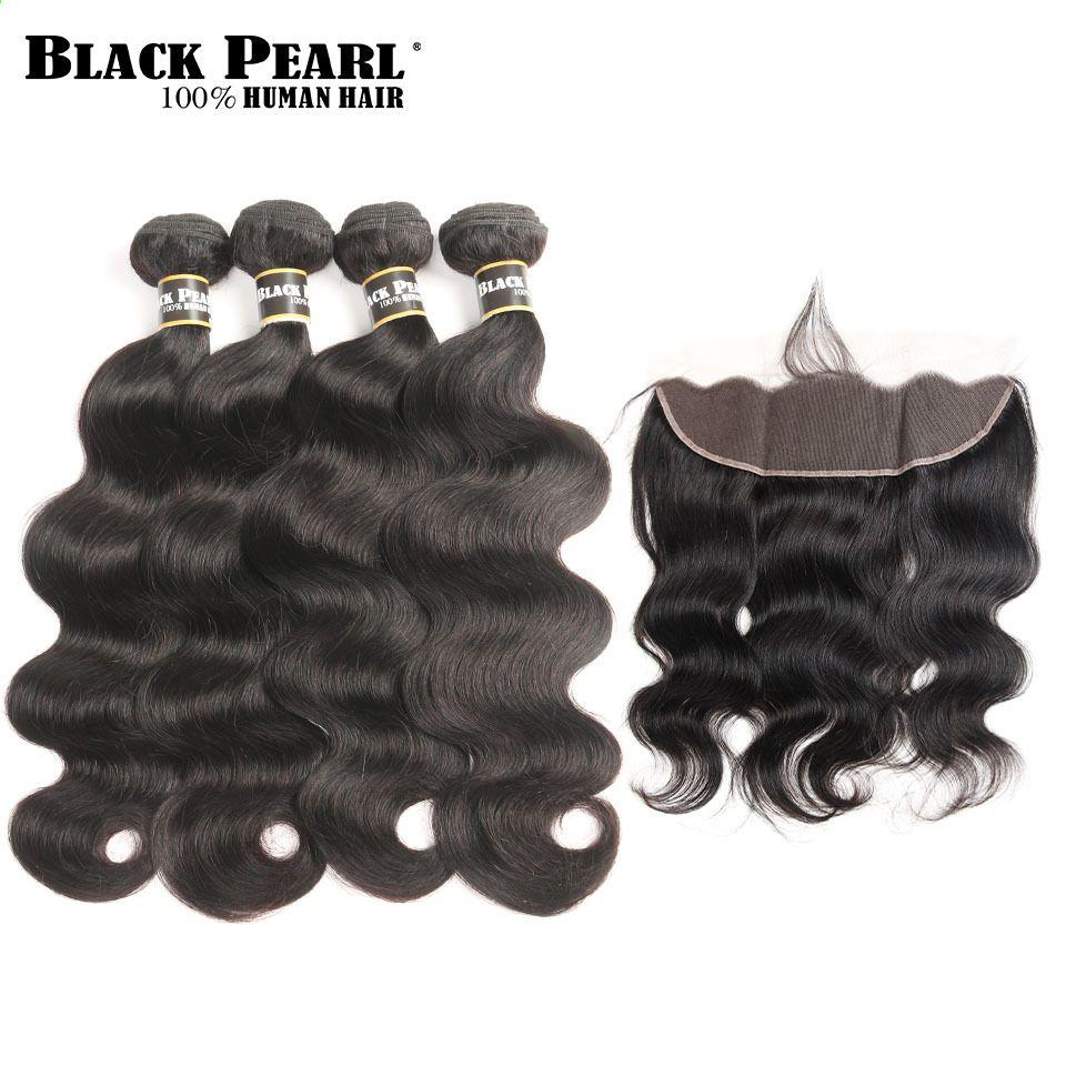 Black Wave Peruviano Pre Color Peruviano 4 Bundles Con Chiusura Frontale In Pizzo Chiusura Con Fa Peruvian Body Wave Lace Frontal Closure Remy Human Hair Weave