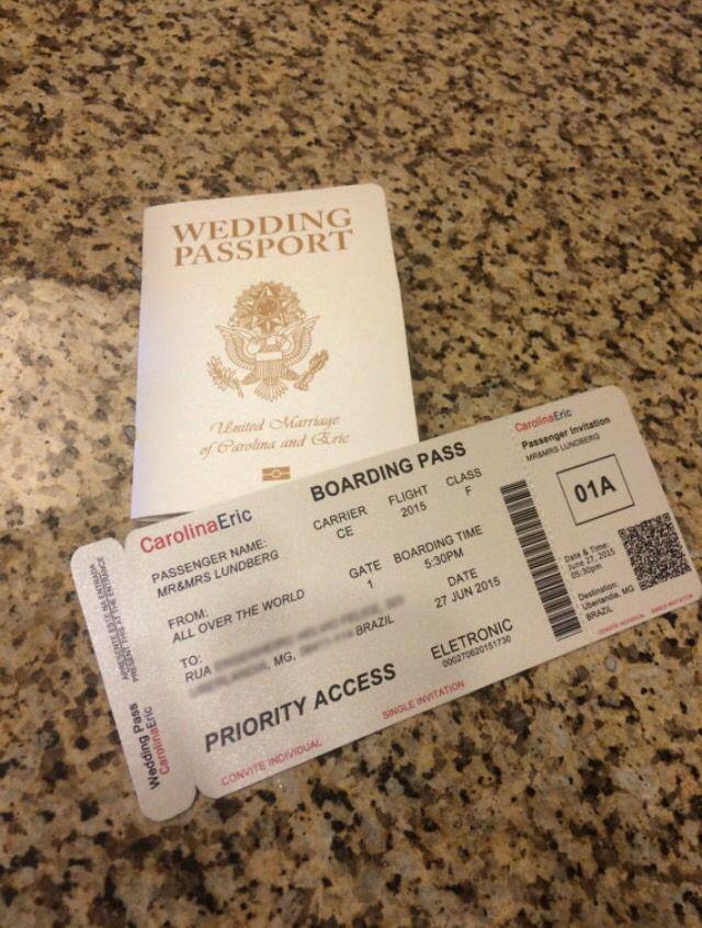 Wedding Passport Invitation Brazil/USA bilingual | Wedding ...