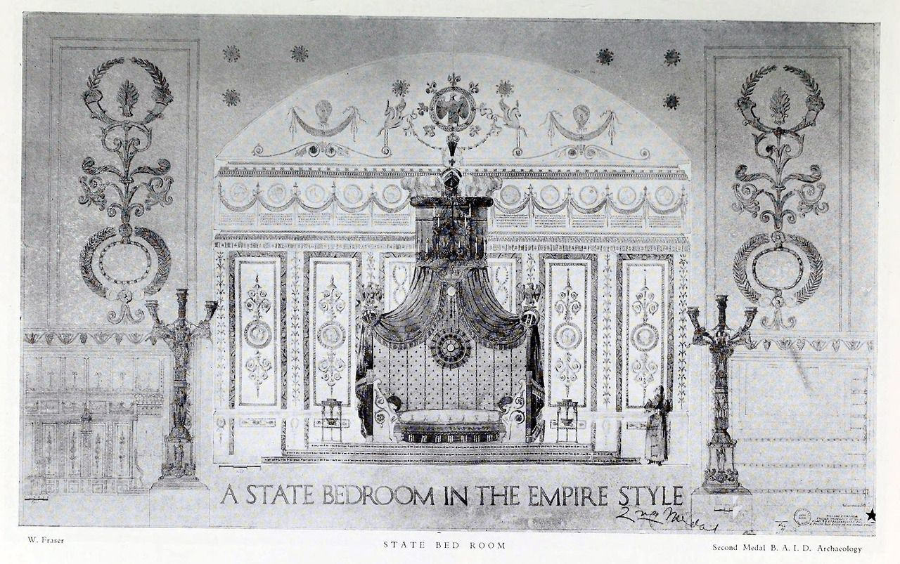 Design for a state bedroom in the Empire style