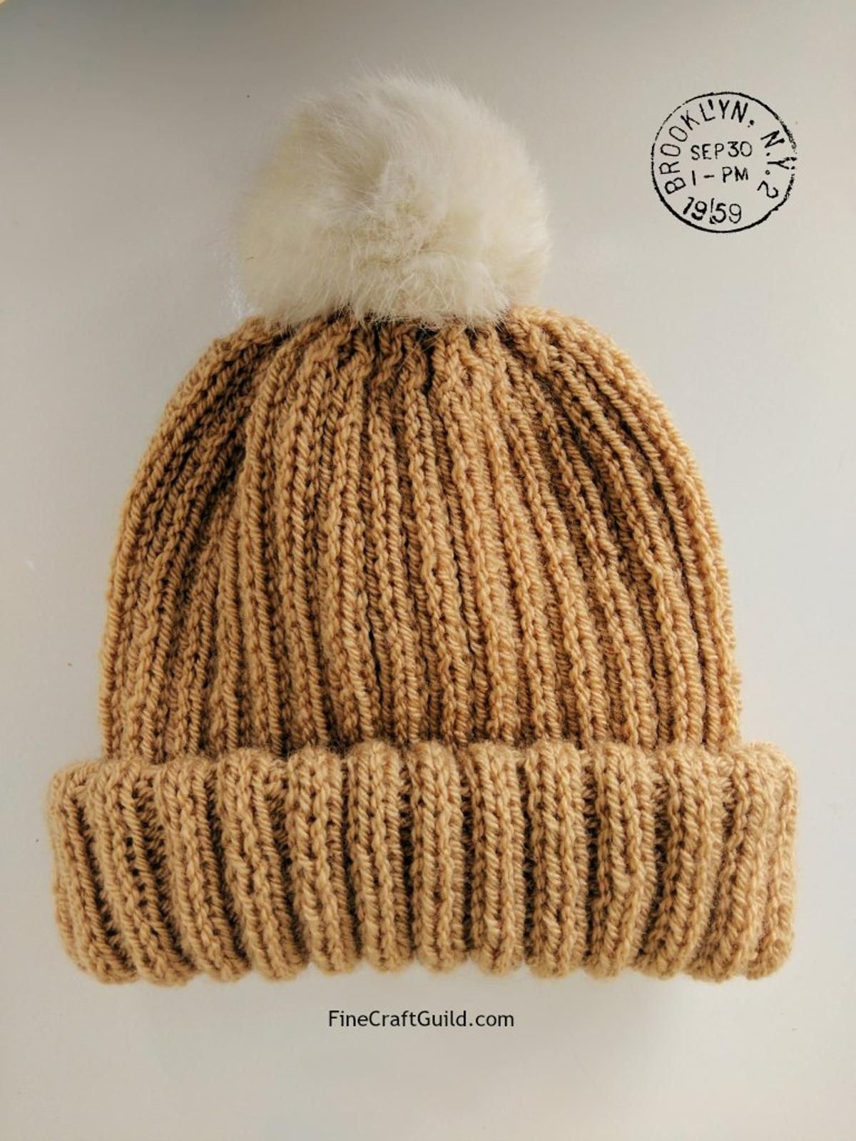 Fur Pompom Beanie Hat Knitting Pattern Knitted Hats
