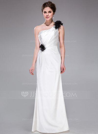 Bridesmaid Dresses - $99.99 - Sheath/Column One-Shoulder Floor-Length Charmeuse Bridesmaid Dress With Ruffle Flower(s) (007026194) http://jjshouse.com/Sheath-Column-One-Shoulder-Floor-Length-Charmeuse-Bridesmaid-Dress-With-Ruffle-Flower-S-007026194-g26194