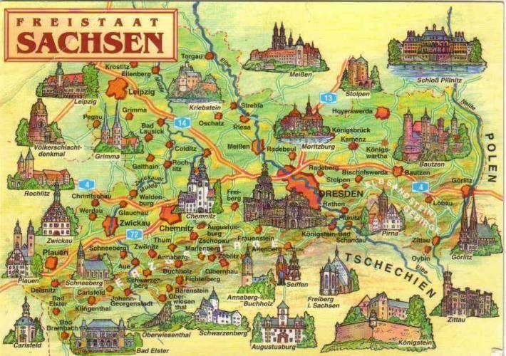 Freistaat Sachsen Karte Saxony Postcard Sachsen