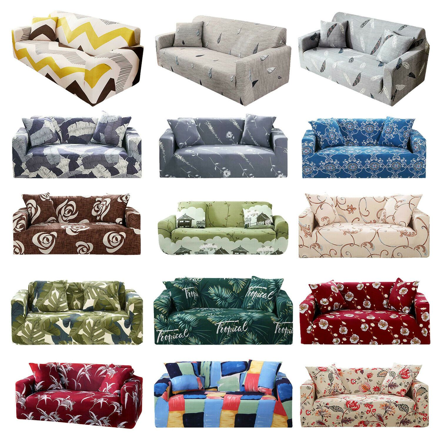 1 2 3 4 Seater Slipcover Stretch Couch Sofa Lounge Cover Recliner Chair Elastic Sofa Slipcover Ideas Of Sofa Slipcov Slipcovered Sofa Slipcovers Sofa Couch
